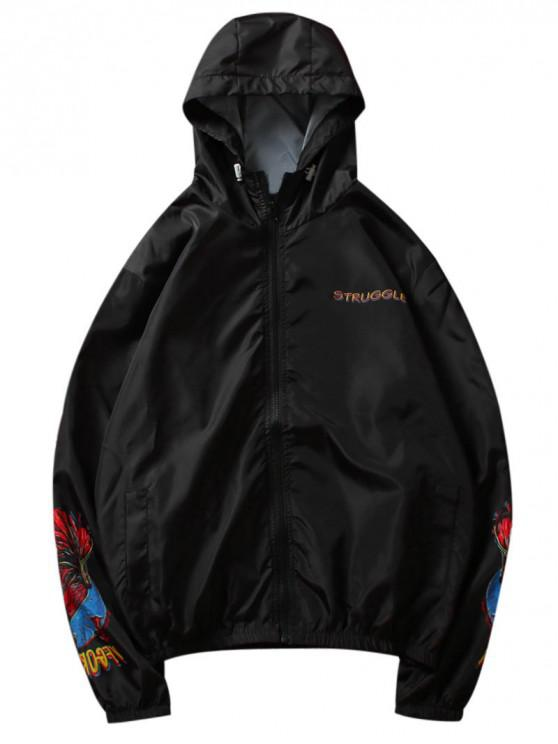 affordable Golden Fish Print Lightweight Jacket - BLACK M