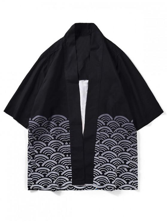 affordable Wave Pattern Kimono Cardigan - BLACK 2XL