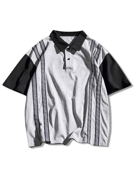 T-shirt Décontracté Panneau Rayé à Manches Courtes - Oie grise XL