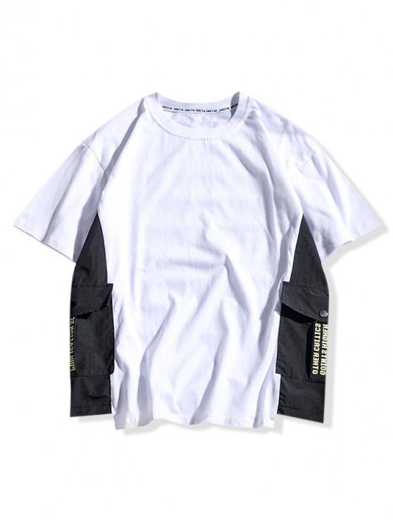 T-shirt Décontracté Lettre Imprimée en Blocs de Couleurs - Blanc 2XL