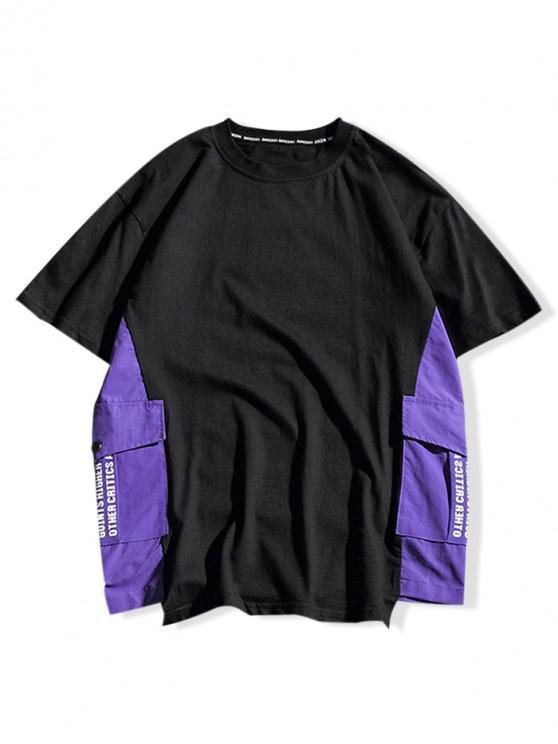 Letras de bloco de cor impresso Casual T-shirt - Preto L