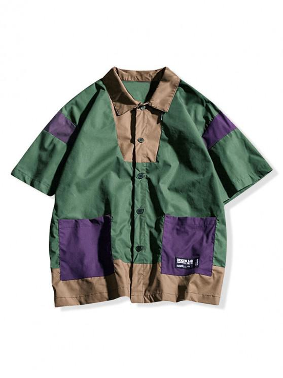 Camicia a maniche corte color block Applique - verde  2XL