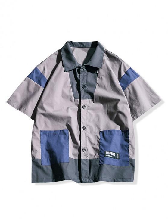 Camisa de mangas curtas de bloco de cor Applique - Cinza claro 2XL