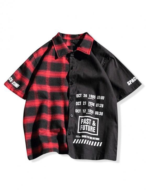 Camicia casual stampata con lettere colorate a blocchi di colore - Rosso Mollissima XL