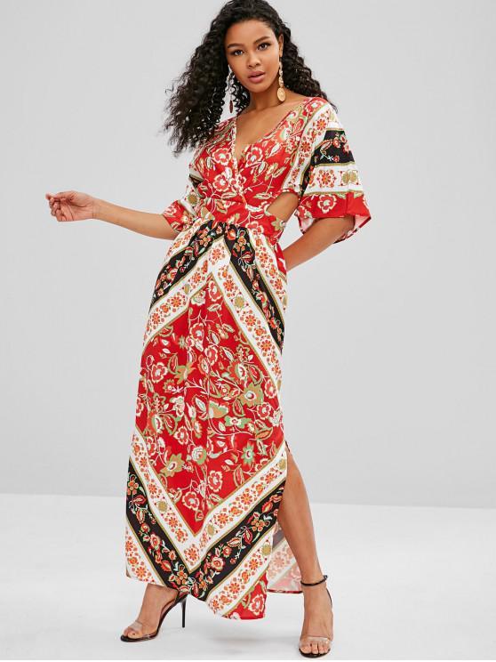 affordable Floral Print Cut Out Kimono Maxi Dress - MULTI M