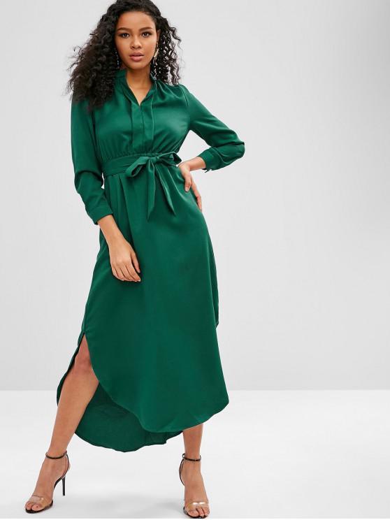 Maxi Robe Haut Basse Fendue Rayée - Vert Mer Moyen M