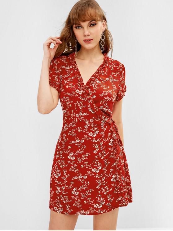 lady ZAFUL Ruffles Frilled Wrap Dress - CHESTNUT RED S