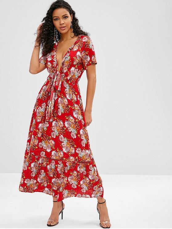 ladies Plunge Floral Knot Bohemian Dress - RED L
