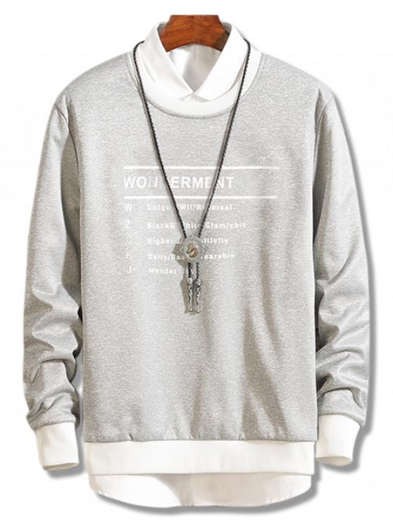 trendy Two Tone Letter Design Fleece Sweatshirt - GRAY L