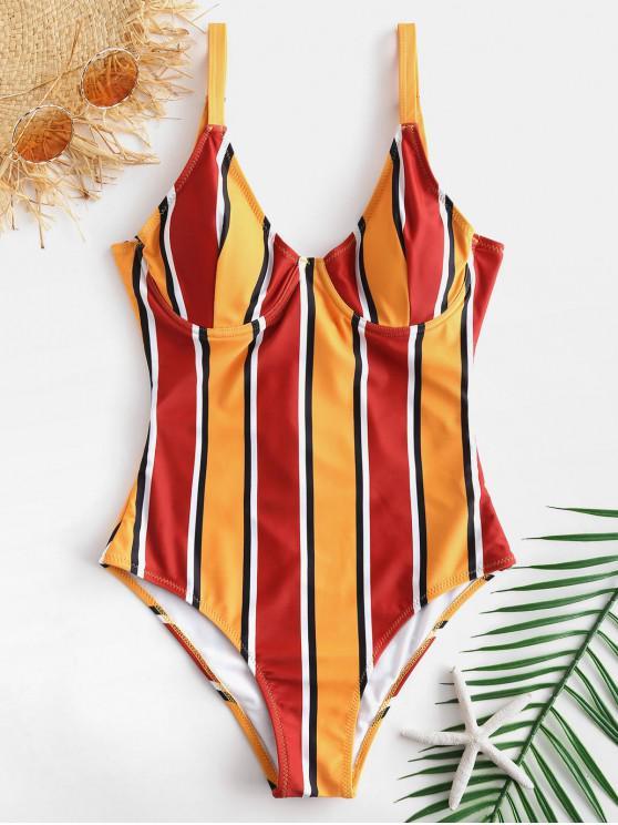 ZAFUL ملون مخطط Underwire ملابس السباحة - متعددة-B XL