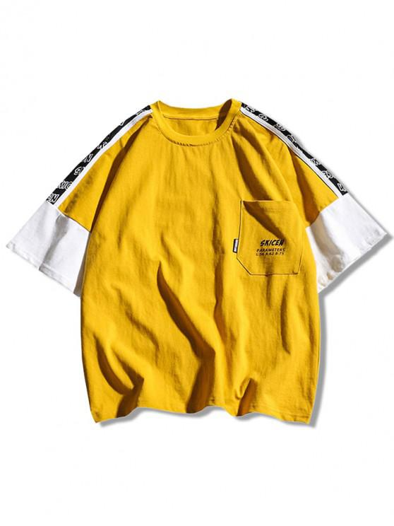 new Letters Print Panel Casual T-shirt - GOLDENROD M