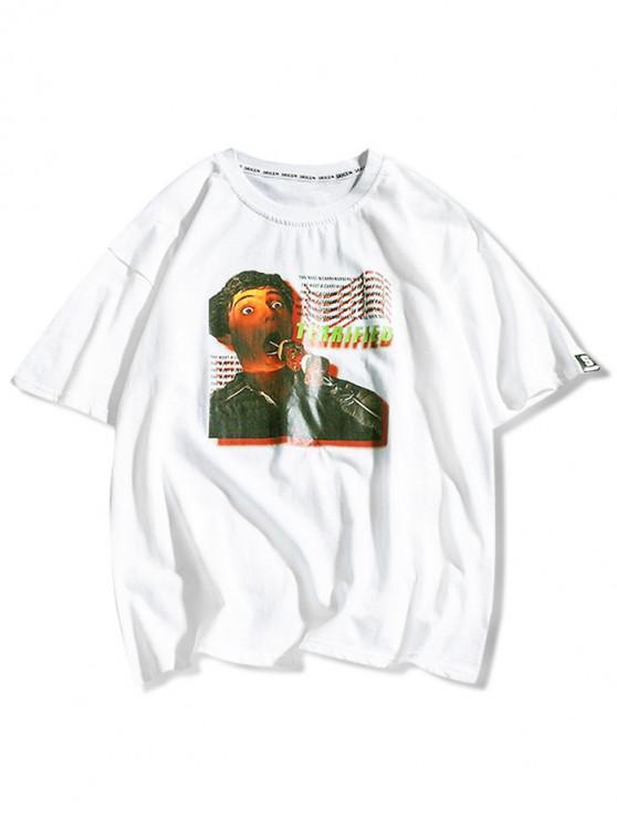 Camiseta de manga corta con estampado de letras de personajes - Blanco XL