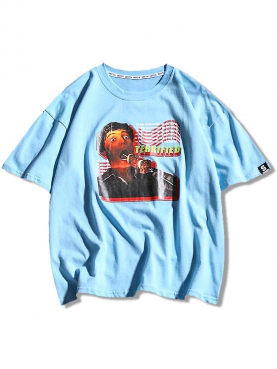 T-shirt stampata con lettere a maniche corte - Blu Castello XL