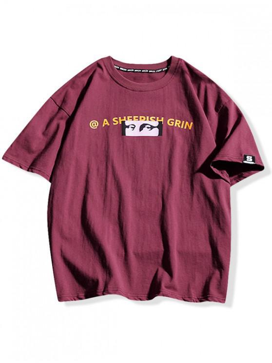 Tee-shirt décontracté à imprimé Mona Lisa - Rouge Vineux 2XL