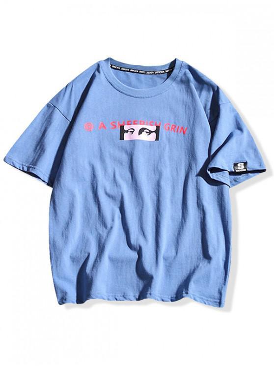 T-shirt casual stampata Mona Lisa - Blu Dodger  L