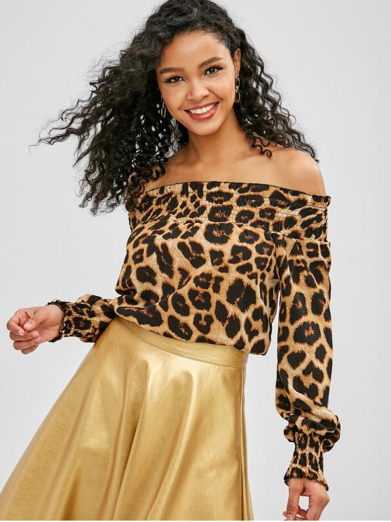 outfit Smocked Off The Shoulder Top - LEOPARD S