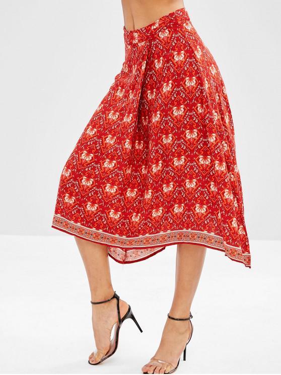 latest Flower Asymmetrical Skirt - ORANGE M