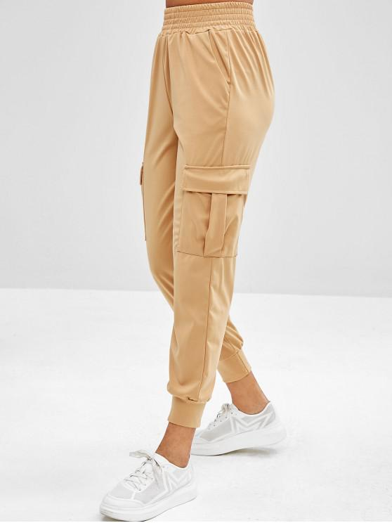 ladies Cargo Pockets High Waisted Joggers Pants - KHAKI S