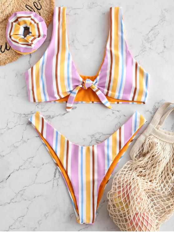 outfit ZAFUL Colorful Striped Tied Plunging Bikini Set - MULTI-A L