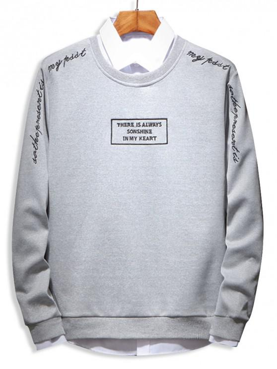 affordable Letter Embroidery Sweatshirt - GRAY M
