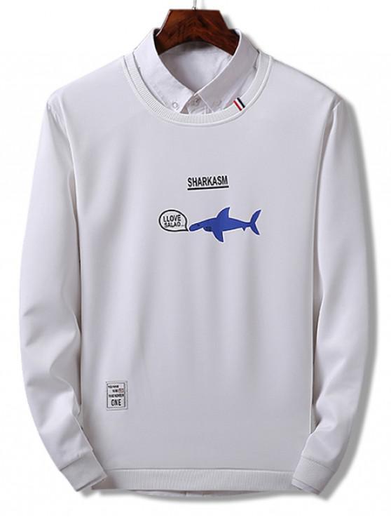 e48f8d0996 33% OFF] 2019 Shark Print Pullover Sweatshirt In WHITE   ZAFUL