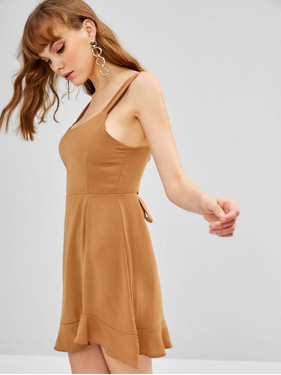 hot Tie Back Cut Out Ruffle Mini Dress - TIGER ORANGE M