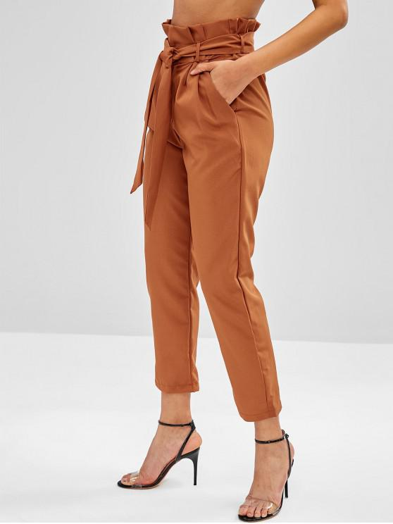 ladies High Waisted Side Pockets Paper Bag Pants - CHOCOLATE L