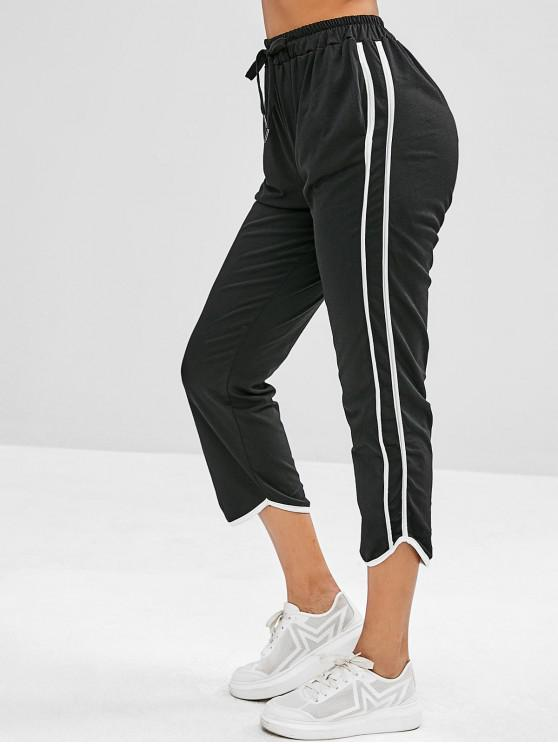 affordable High Waisted Stripes Panel Straight Pants - BLACK ONE SIZE