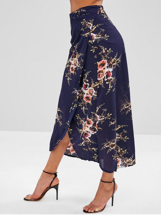 lady Floral Wrap Asymmetrical Maxi Skirt - MIDNIGHT BLUE M