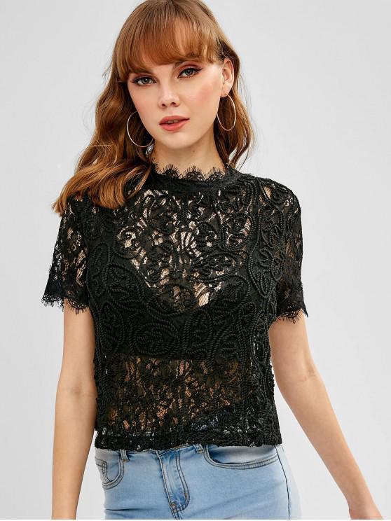 Cremallera trasera blusa de encaje festoneada - 1#_64GB L