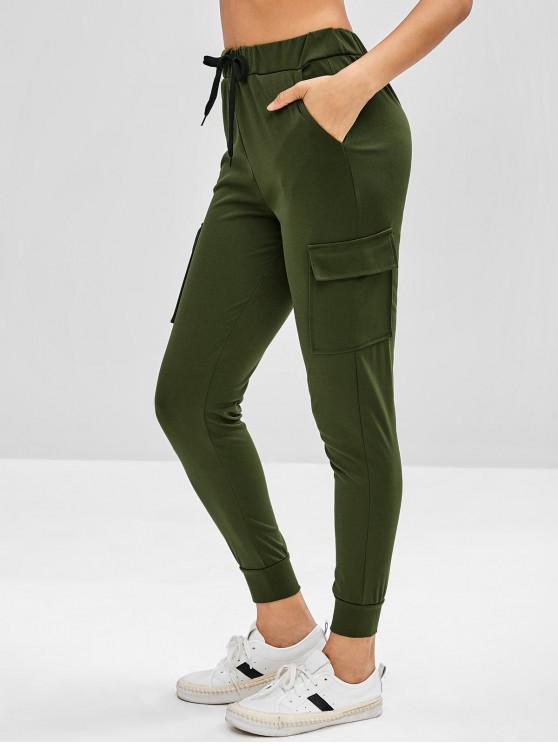 Bolsillos de parche pantalones joggers - Ejercito Verde M