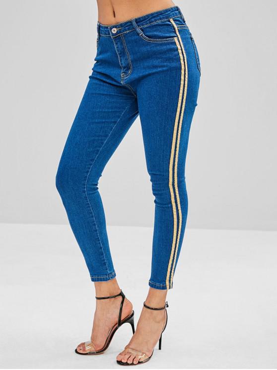 chic Pocket Skinny Dark Wash Jeans - BLUE M