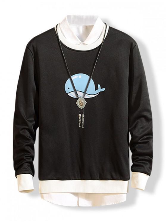 latest Dolphin Graphic Fleece Sweatshirt - BLACK XS