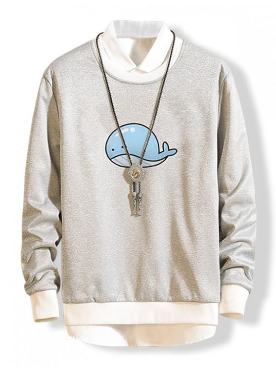 womens Dolphin Graphic Fleece Sweatshirt - GRAY L