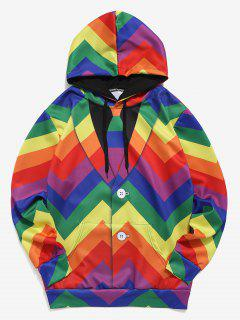 Faux Shirt Geometric Print Casual Hoodie - Multi S