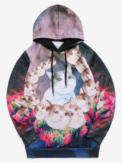 Galaxy Cats Flowers Print Kangaroo Pocket Hoodie - Multi S