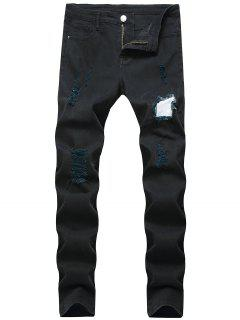 Long Casual Patchworks Ripped Denim Pants - Black 34