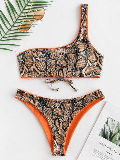 ZAFUL Ensemble De Bikini Réversible Peau De Serpent à Une Epaule  - Orange Mangue L