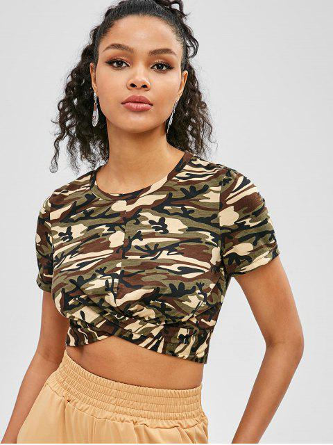 fancy ZAFUL Twist Front Camo Crop Tee - ACU CAMOUFLAGE XL Mobile