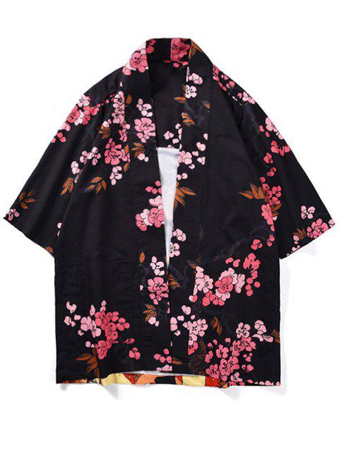 latest Japanese Women Flowers Print Kimono Cardigan - BLACK L Mobile