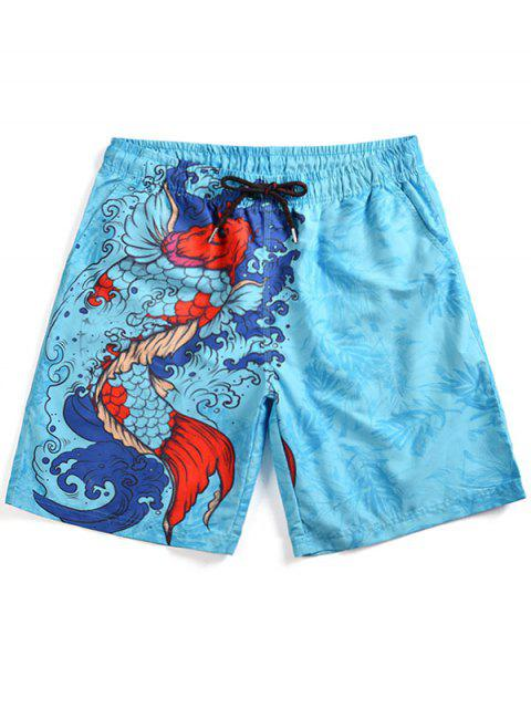 ladies Fish Print Swim Board Shorts - LIGHT SKY BLUE M Mobile