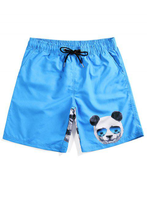 hot Panda Head Print Beach Shorts - CRYSTAL BLUE M Mobile