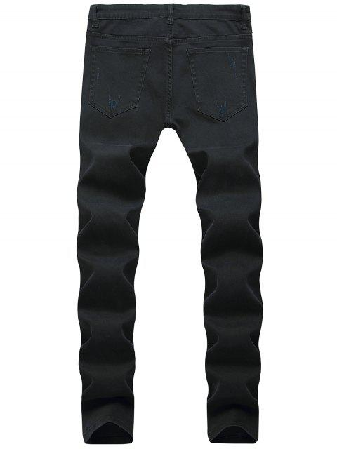 affordable Long Casual Patchworks Ripped Denim Pants - BLACK 32 Mobile
