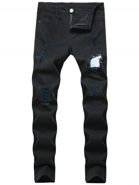 womens Long Casual Patchworks Ripped Denim Pants - BLACK 36 Mobile