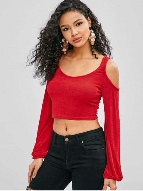 womens Cold Shoulder Crop T-shirt - RED S Mobile