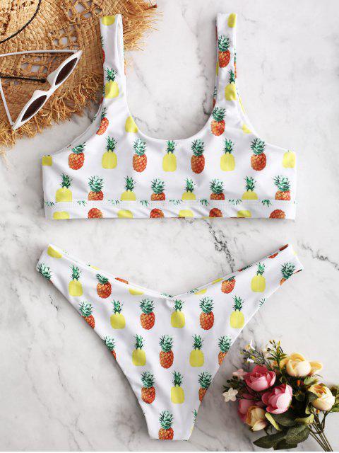 lady ZAFUL Pineapple Print Cut Out Bikini Set - WHITE L Mobile