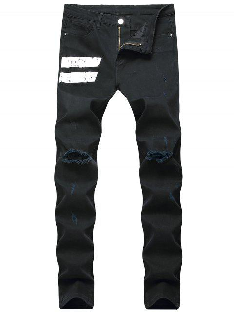 fancy Long Stripes Casual Ripped Denim Pants - BLACK 32 Mobile