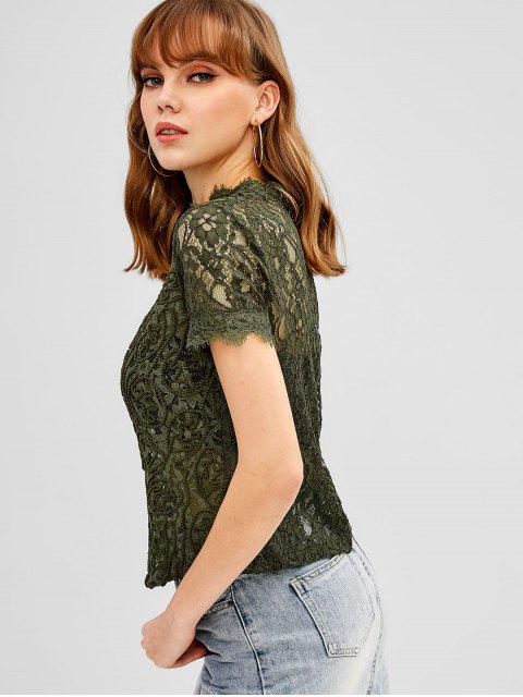 ladies Back Zipper Scalloped Lace Blouse - ARMY GREEN L Mobile