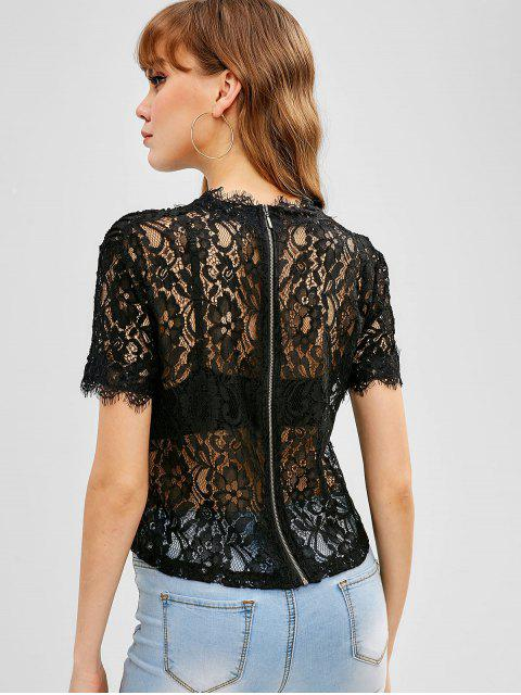 outfit Back Zipper Scalloped Lace Blouse - BLACK L Mobile