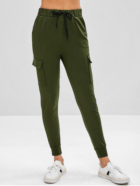 latest Patch Pockets Joggers Pants - ARMY GREEN M Mobile